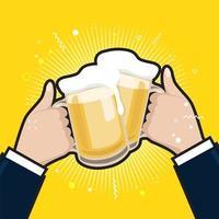 empresários segurando canecas de cerveja. copos de cerveja tilintando de espuma. vetor