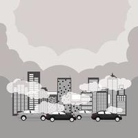 poluição do ar com arranha-céus, carros na hora do rush. vetor