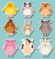Design da etiqueta para animais de fazenda bonito vetor