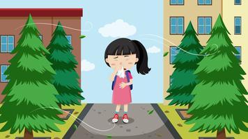 Um, menina jovem, com, alergias vetor