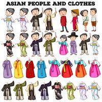 Pessoas asiáticas e roupas vetor