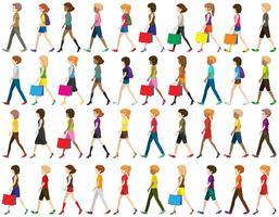 Grupo de pessoas caminhando vetor
