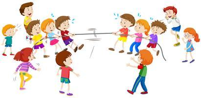 Crianças, tocando, puxão, um, guerra vetor