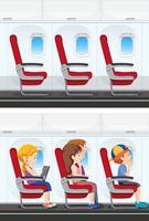 Conjunto de interior de avião vetor