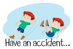 Um menino tendo um acidente