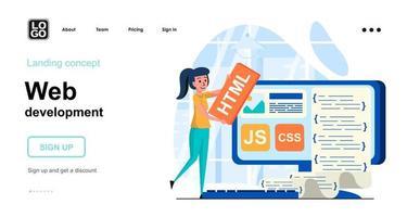 modelo de página de destino de conceito de desenvolvimento web vetor