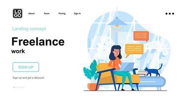 modelo de página de destino de conceito da web de trabalho freelance vetor