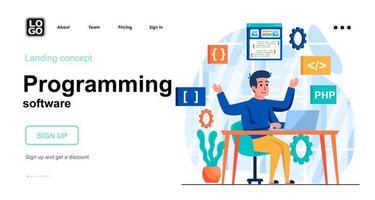 modelo de página de destino de conceito da web de software de programação vetor