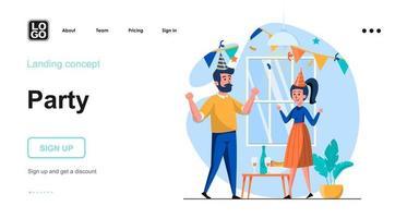 modelo de página de destino de conceito de web de festa vetor