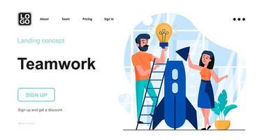 modelo de página de destino de conceito de web de trabalho em equipe vetor