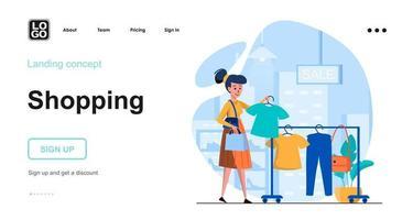 modelo de página de destino de conceito da web de compras vetor
