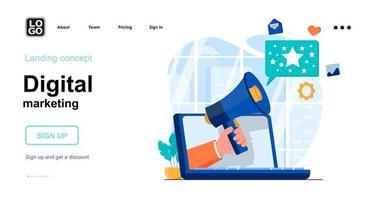 modelo de página de destino de conceito da web de marketing digital vetor