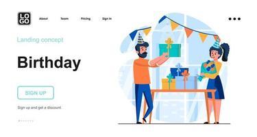 modelo de página de destino de conceito da web de aniversário vetor
