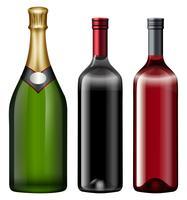 Três, garrafas, de, álcool, bebida vetor