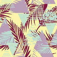 Sem costura padrão exótico com palma deixa no fundo geométrico vetor