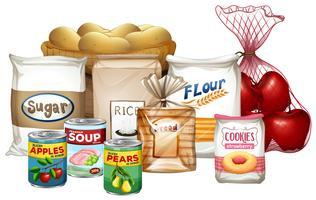 Conjunto de uma variedade de alimentos vetor