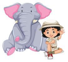 Uma garota safári com elefante vetor