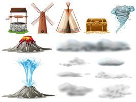 Diferentes tipos de objetos e nuvens vetor