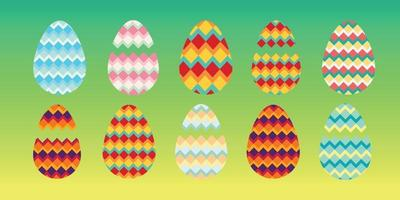 conjunto de ovos de páscoa felizes vetor