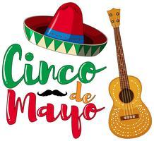 Design de cartaz de cinco de Mayo com chapéu e guitarra vetor