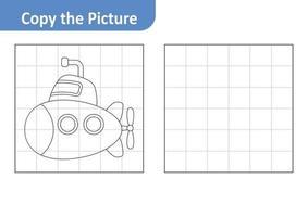 copie a planilha de imagens para crianças, vetor submarino
