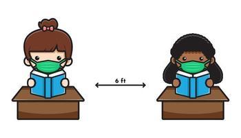 Ilustração em vetor ícone bonito aluno de volta à escola