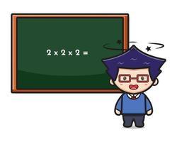 menino bonito estudante tonto fazendo ilustração vetorial de ícone de desenho animado vetor