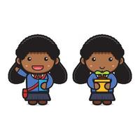 Linda garota estudante de volta às aulas ilustração em vetor ícone de desenho animado