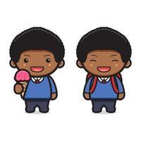 menino bonito estudante de volta às aulas ilustração vetorial ícone desenho animado vetor