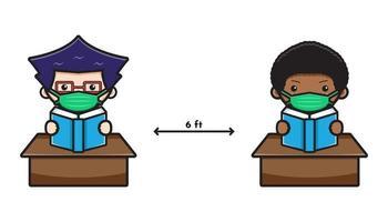 Ilustração em vetor ícone desenho animado bonito aluno de volta à escola