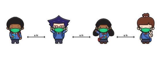 Aluno fofo de volta às aulas ilustração em vetor ícone desenho animado