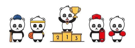 Ilustração de desenho animado de panda fofo com tema de esportes vetor