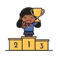 linda aluna de pé no pódio segurando uma ilustração de troféu vetor