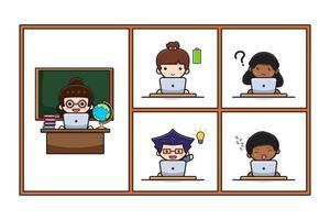 professor e aluno fofos fazem ilustração de estudo de aprendizagem online vetor