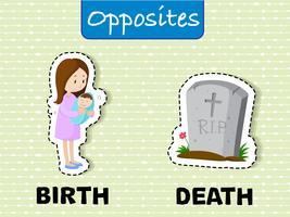 Palavras opostas para nascimento e morte vetor
