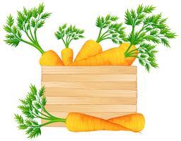 Caixa madeira, com, cenouras vetor