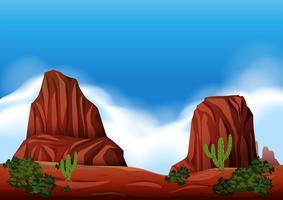 Cena de rocha do deserto na natureza vetor