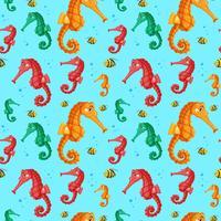 Padrão sem emenda de cavalos-marinhos coloridos vetor