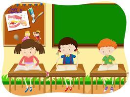 Três alunos aprendendo na sala de aula vetor