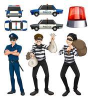 Conjunto de policial e ladrões vetor