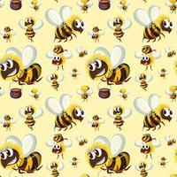 Padrão de abelha sem costura bumble vetor