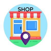 localização da loja e mercado vetor