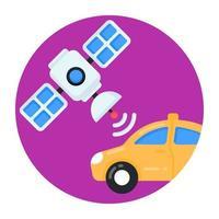 via satélite e carro wi-fi vetor