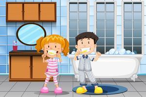 Crianças, dentes escovando, em, banheiro vetor