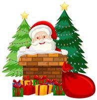 Santa no cartão de chaminé vetor