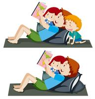 Um pai, livro leitura, para, crianças vetor