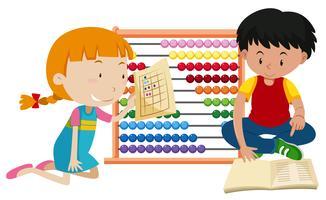 Crianças, aprendizagem, matemática, ábaco vetor