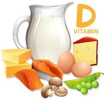 Um conjunto de alimentos com vitamina D vetor