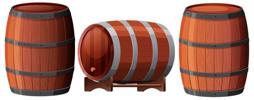 Um conjunto de barril de carvalho vetor