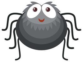 Aranha negra em fundo branco vetor